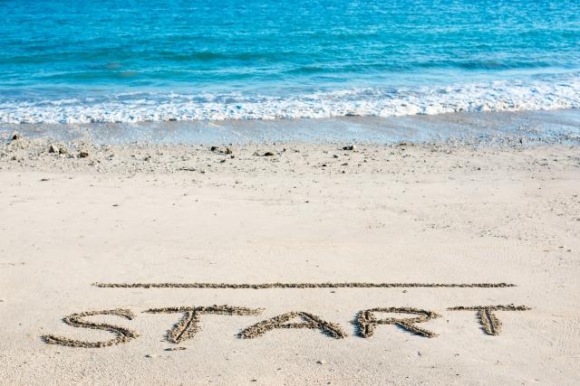 砂浜に書いたスタートライン