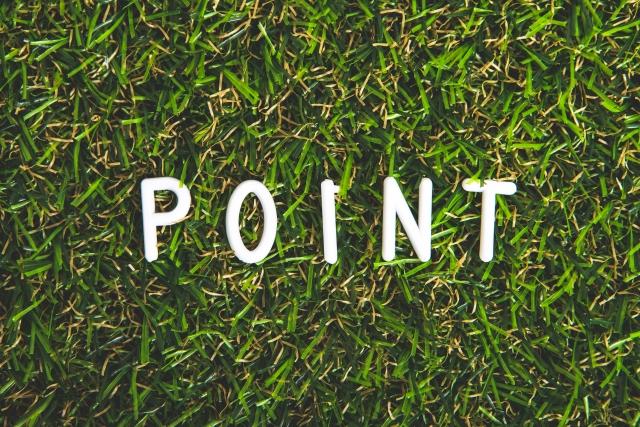 草原に並べた「POINT」の文字